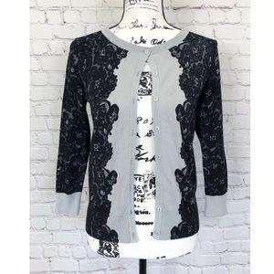 Neiman Marcus Lace Print Cardigan